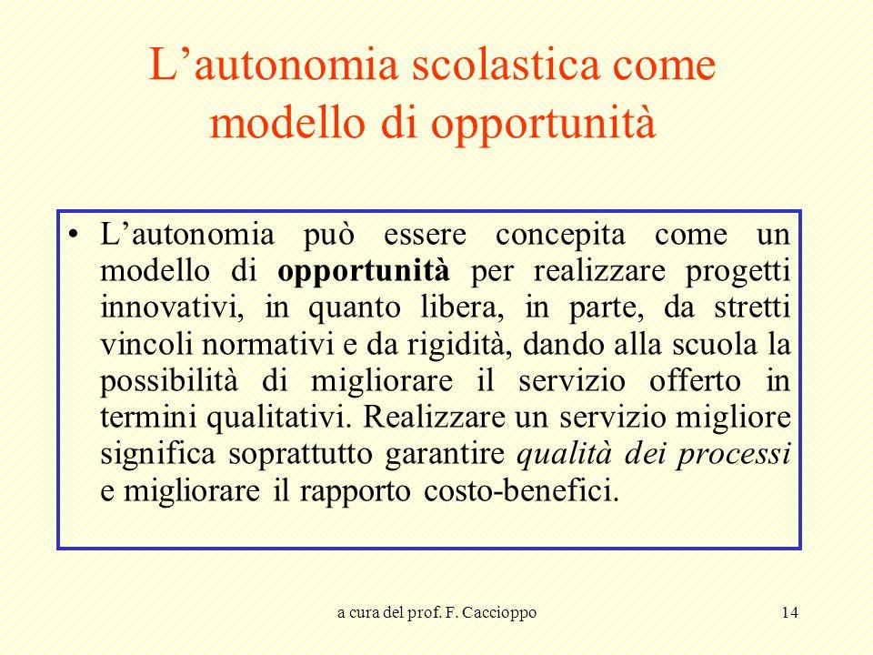 L'autonomia scolastica come modello di opportunità