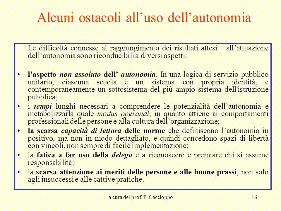 Alcuni ostacoli all'uso dell'autonomia