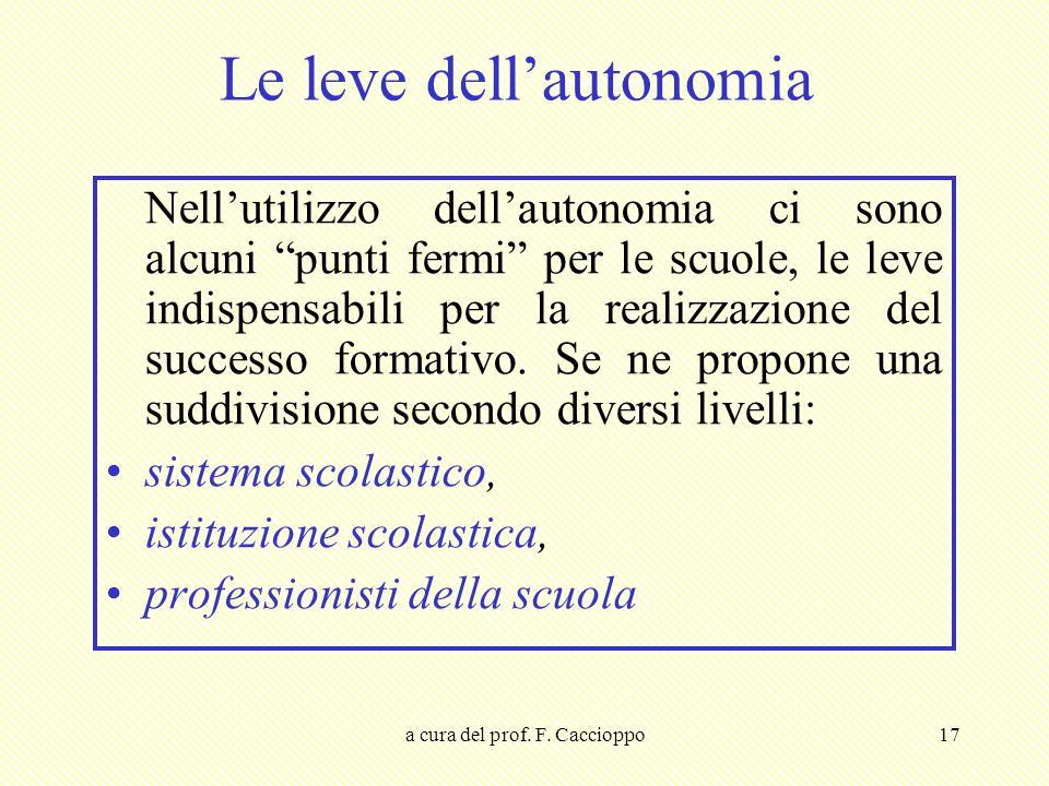 Le leve dell'autonomia