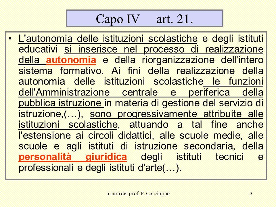 a cura del prof. F. Caccioppo