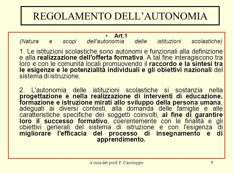 REGOLAMENTO DELL'AUTONOMIA