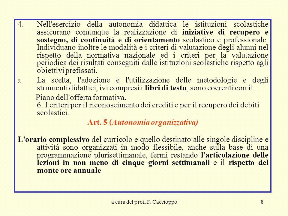 Art. 5 (Autonomia organizzativa)