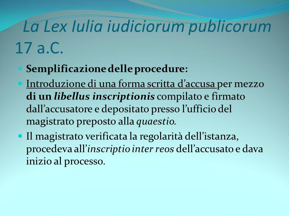 La Lex Iulia iudiciorum publicorum 17 a.C.
