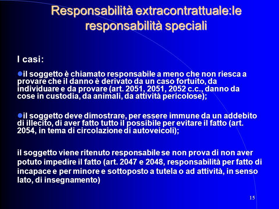 Responsabilità extracontrattuale:le responsabilità speciali