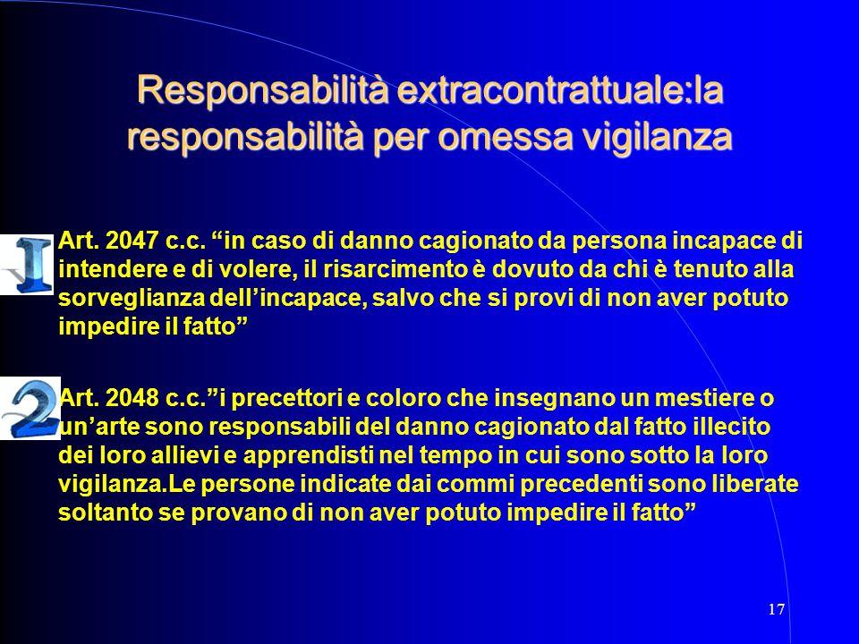 Responsabilità extracontrattuale:la responsabilità per omessa vigilanza