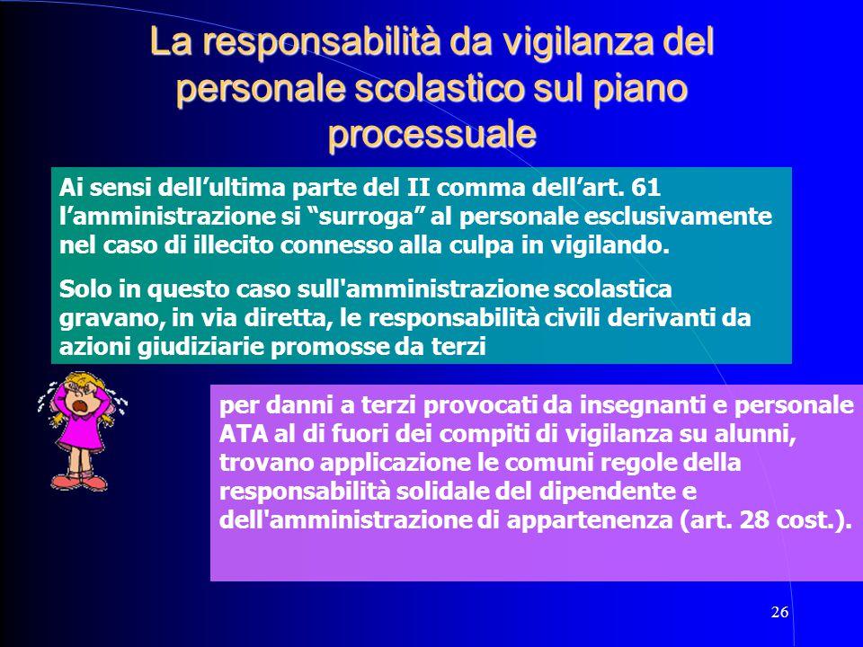 La responsabilità da vigilanza del personale scolastico sul piano processuale