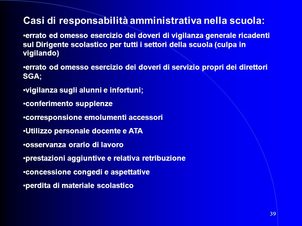 Casi di responsabilità amministrativa nella scuola:
