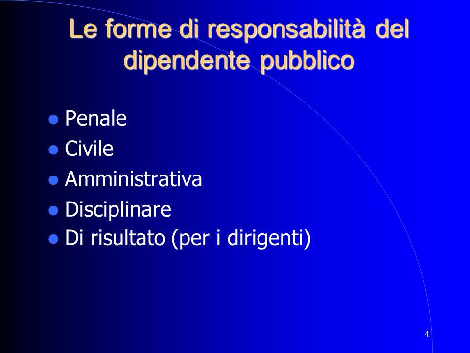 Le forme di responsabilità del dipendente pubblico