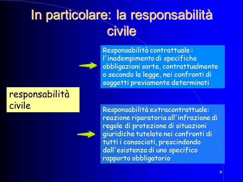 In particolare: la responsabilità civile
