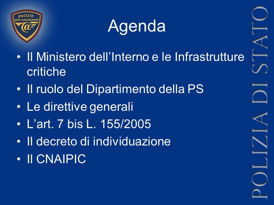 Agenda Il Ministero dell'Interno e le Infrastrutture critiche