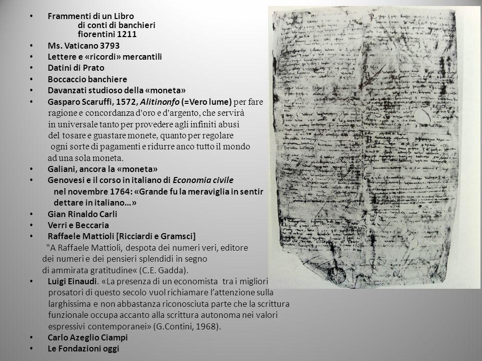 Frammenti di un Libro di conti di banchieri. fiorentini 1211. Ms. Vaticano 3793. Lettere e «ricordi» mercantili.