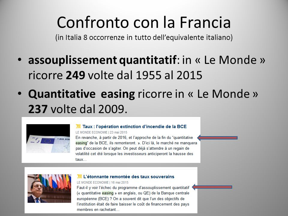 Confronto con la Francia (in Italia 8 occorrenze in tutto dell'equivalente italiano)