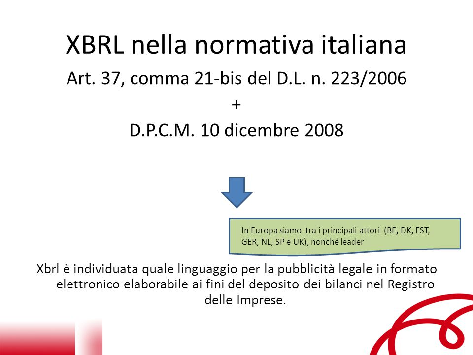 XBRL nella normativa italiana