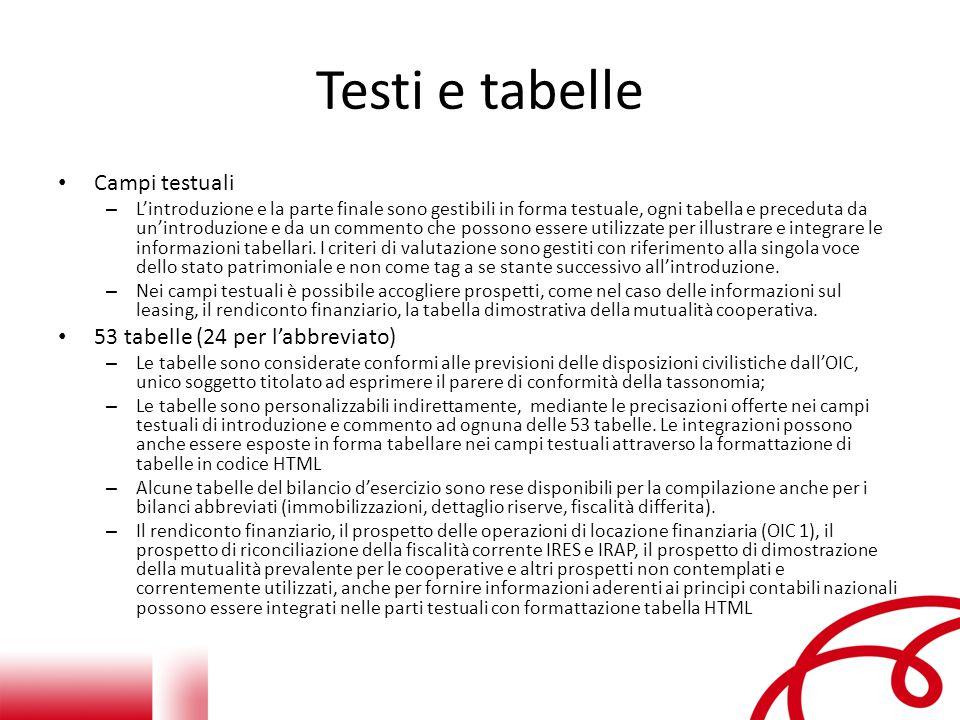 Testi e tabelle Campi testuali 53 tabelle (24 per l'abbreviato)