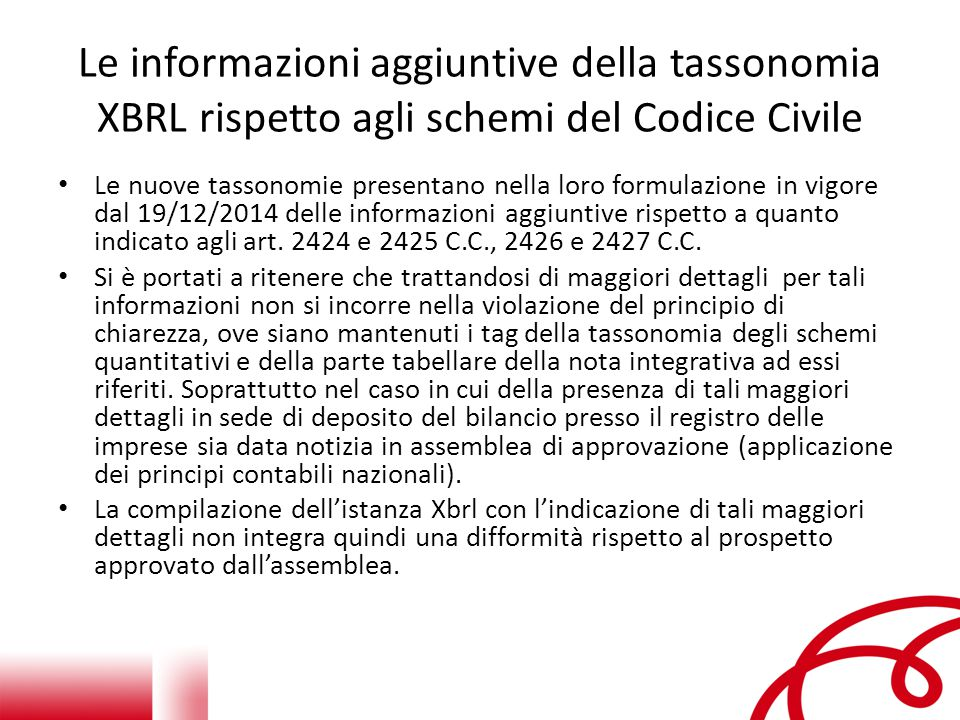 Le informazioni aggiuntive della tassonomia XBRL rispetto agli schemi del Codice Civile