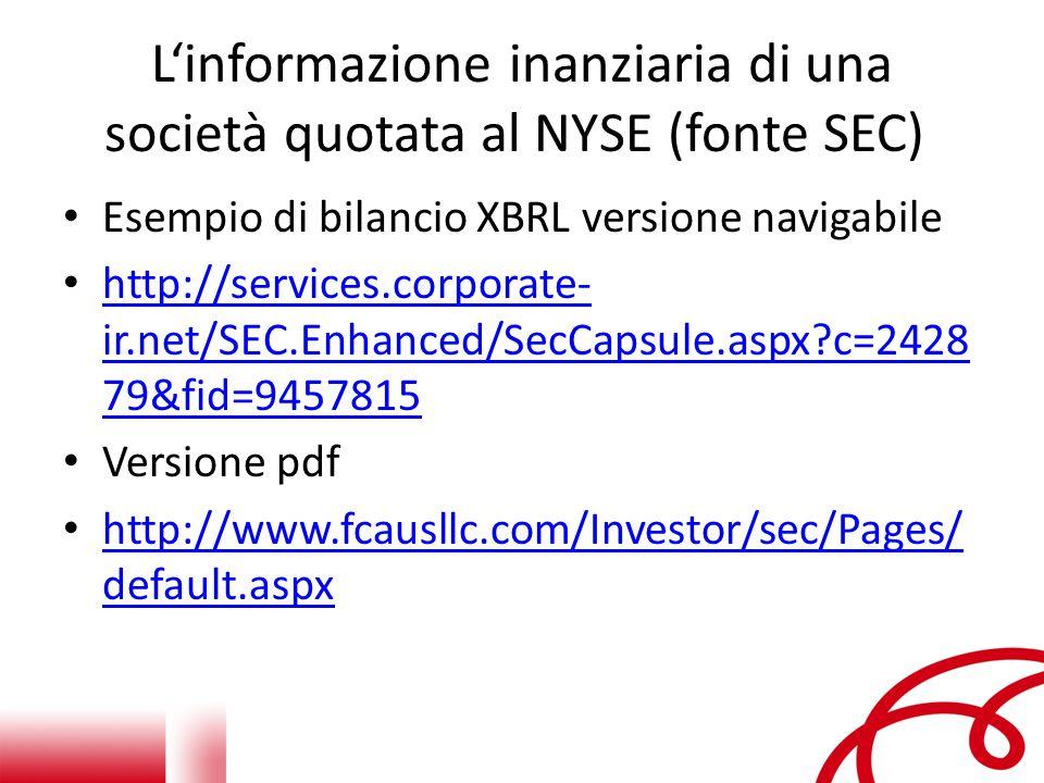 L'informazione inanziaria di una società quotata al NYSE (fonte SEC)
