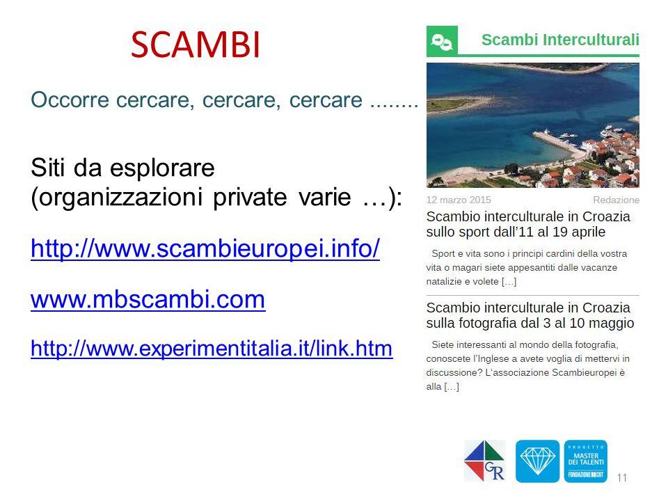 SCAMBI Siti da esplorare (organizzazioni private varie …):