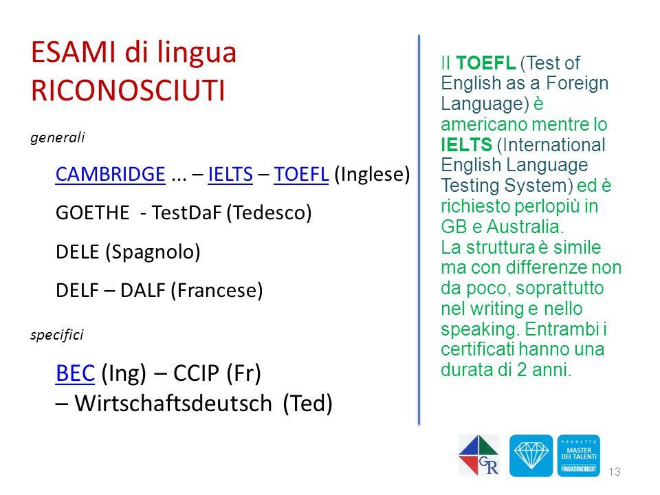 ESAMI di lingua RICONOSCIUTI
