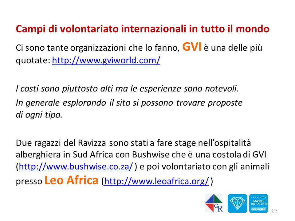 Campi di volontariato internazionali in tutto il mondo