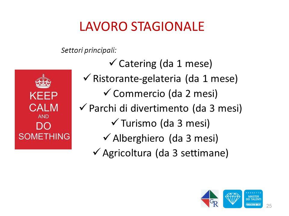 LAVORO STAGIONALE Catering (da 1 mese)