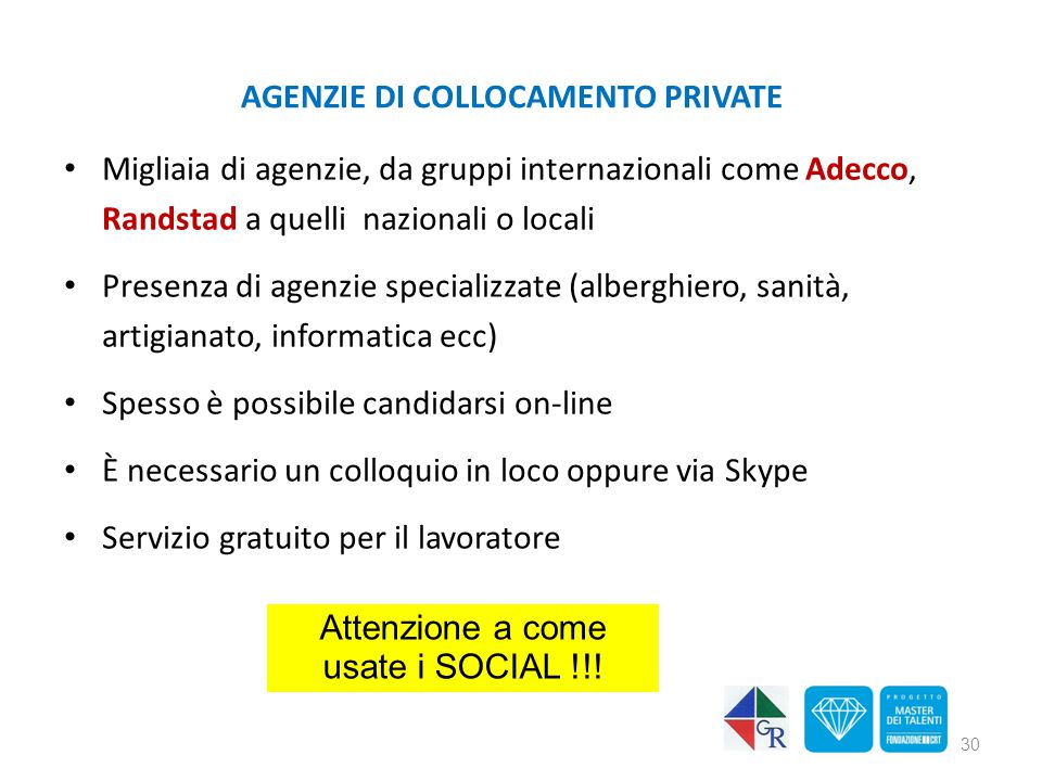 AGENZIE DI COLLOCAMENTO PRIVATE