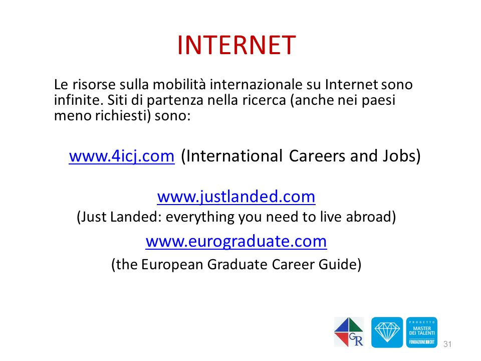 INTERNET www.4icj.com (International Careers and Jobs)