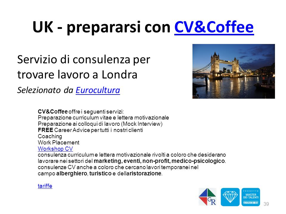 UK - prepararsi con CV&Coffee