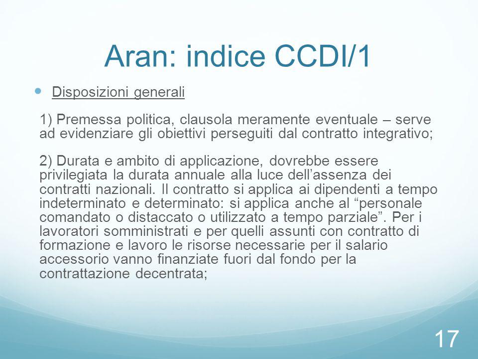 Aran: indice CCDI/1 Disposizioni generali