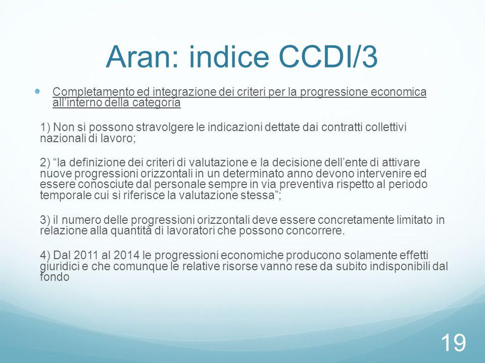 Aran: indice CCDI/3 Completamento ed integrazione dei criteri per la progressione economica all'interno della categoria.