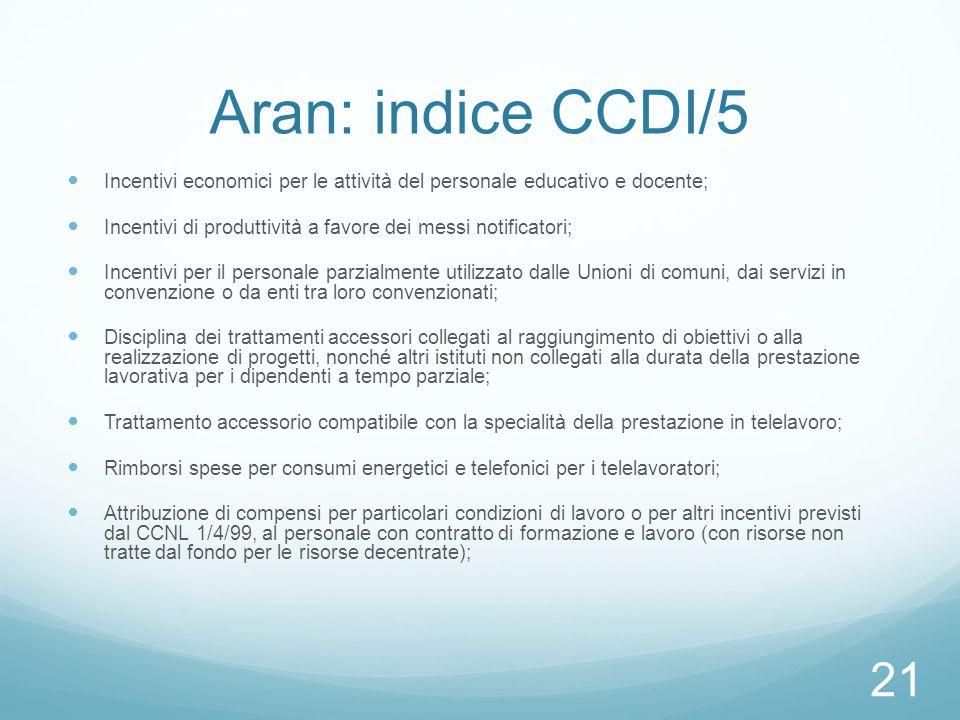 Aran: indice CCDI/5 Incentivi economici per le attività del personale educativo e docente;