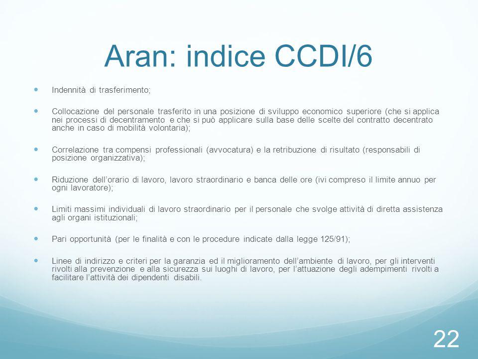 Aran: indice CCDI/6 Indennità di trasferimento;