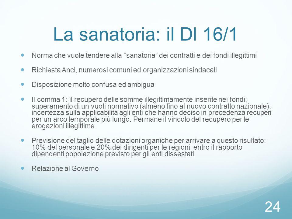 La sanatoria: il Dl 16/1 Norma che vuole tendere alla sanatoria dei contratti e dei fondi illegittimi.