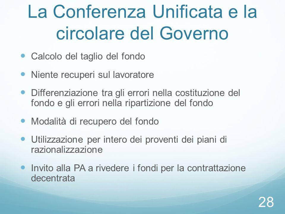 La Conferenza Unificata e la circolare del Governo
