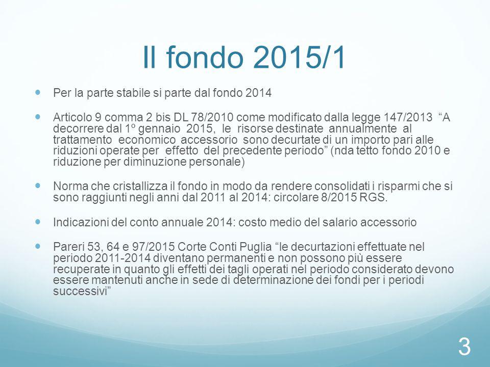 Il fondo 2015/1 Per la parte stabile si parte dal fondo 2014