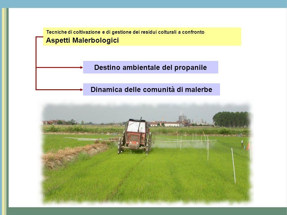 Destino ambientale del propanile Dinamica delle comunità di malerbe