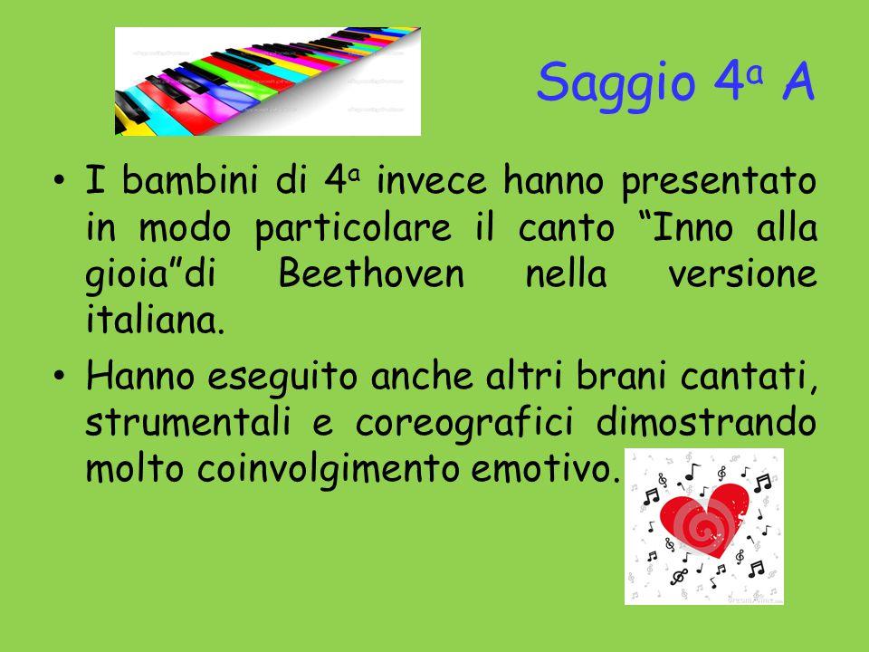 Saggio 4a A I bambini di 4a invece hanno presentato in modo particolare il canto Inno alla gioia di Beethoven nella versione italiana.