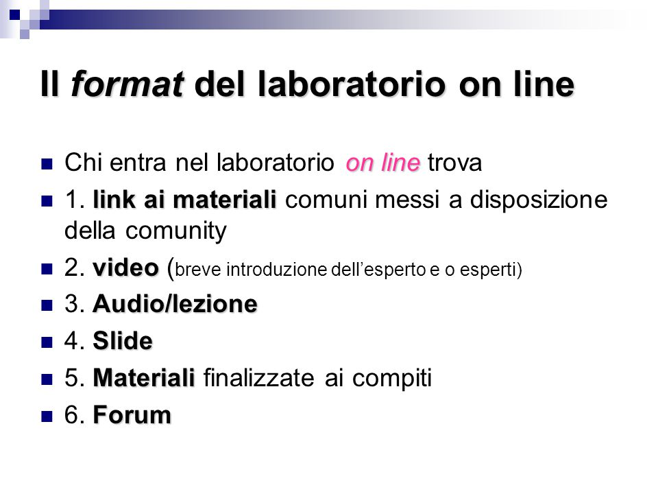 Il format del laboratorio on line