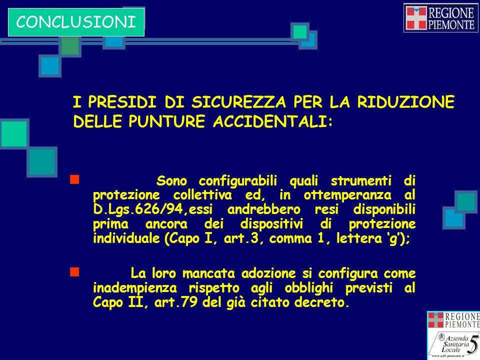 I PRESIDI DI SICUREZZA PER LA RIDUZIONE DELLE PUNTURE ACCIDENTALI: