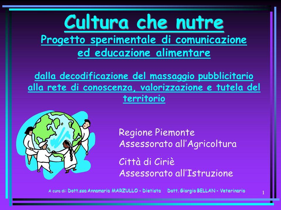 Cultura che nutre Progetto sperimentale di comunicazione ed educazione alimentare dalla decodificazione del massaggio pubblicitario alla rete di conoscenza, valorizzazione e tutela del territorio