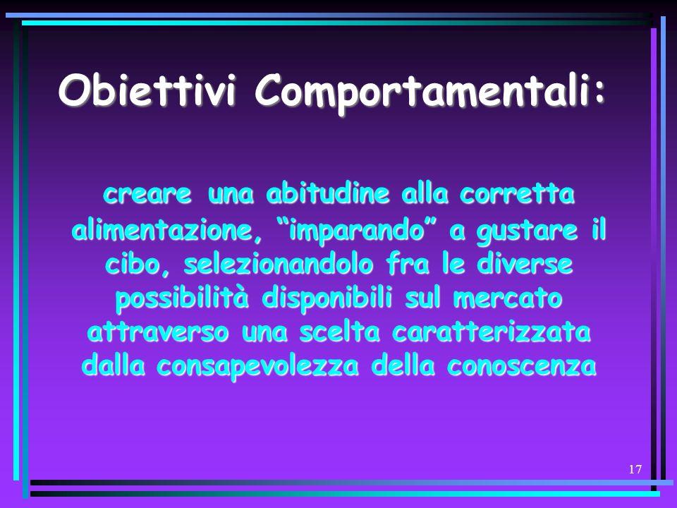 Obiettivi Comportamentali: