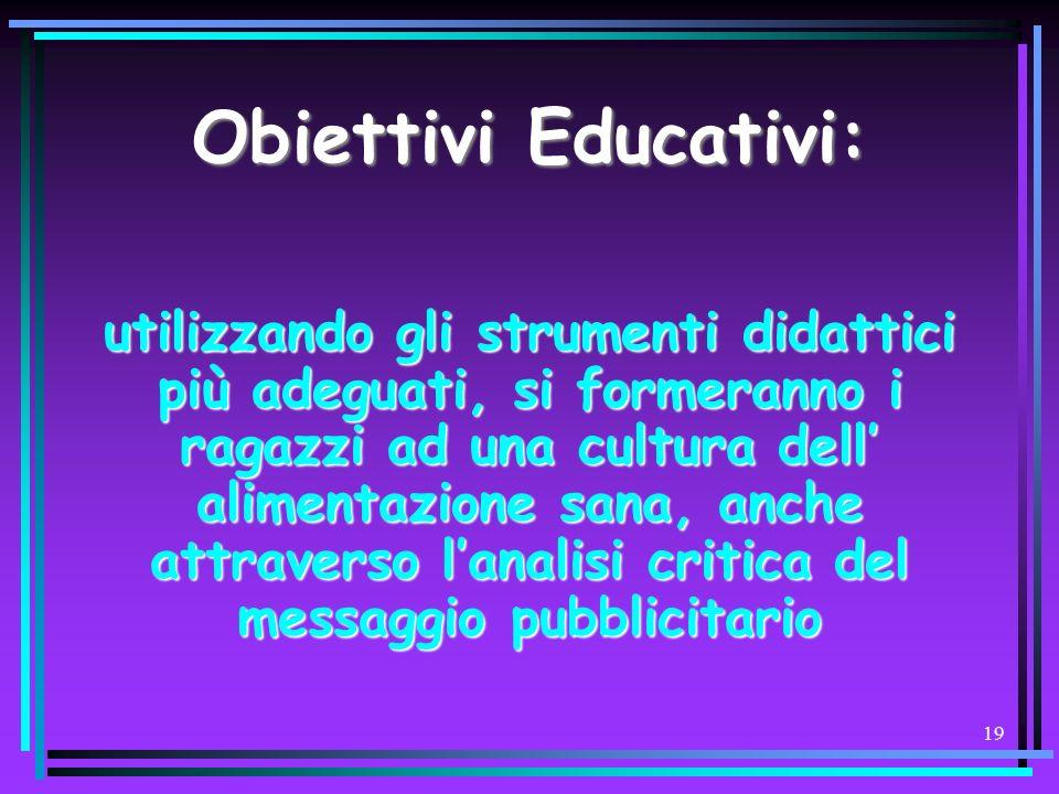 Obiettivi Educativi: