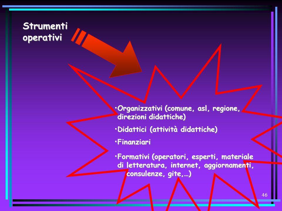 Strumenti operativi Organizzativi (comune, asl, regione, direzioni didattiche) Didattici (attività didattiche)