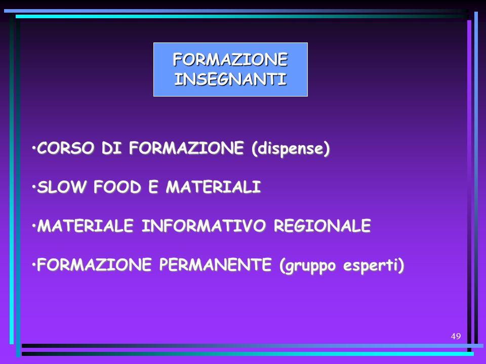 FORMAZIONE INSEGNANTI. CORSO DI FORMAZIONE (dispense) SLOW FOOD E MATERIALI. MATERIALE INFORMATIVO REGIONALE.