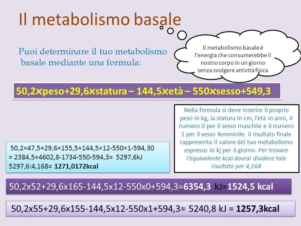 Il metabolismo basale Il metabolismo basale è l'energia che consumerebbe il nostro corpo in un giorno senza svolgere attività fisica.