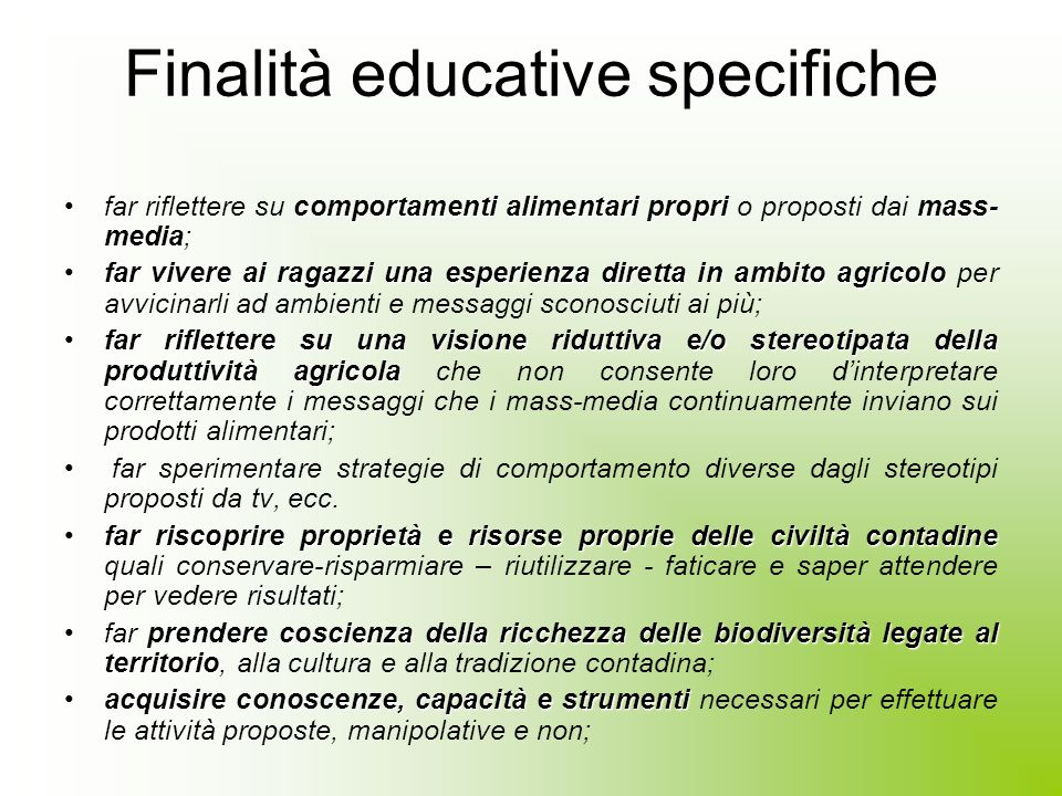 Finalità educative specifiche