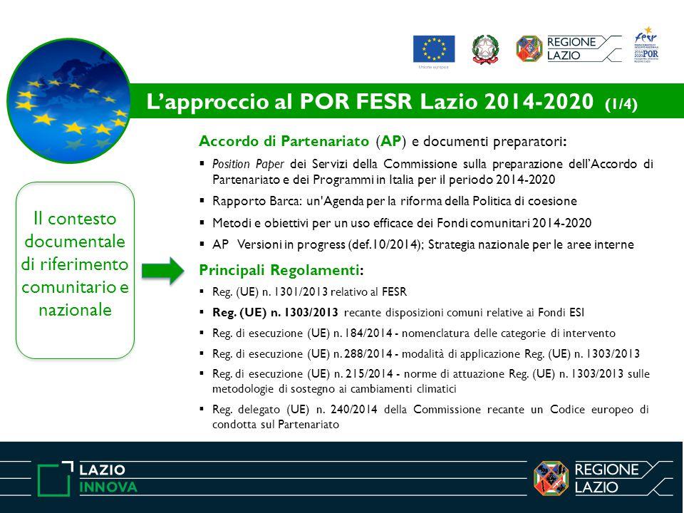 L'approccio al POR FESR Lazio 2014-2020 (1/4)