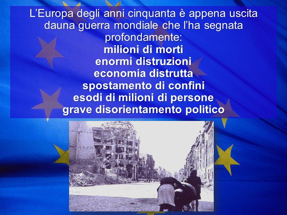 L'Europa degli anni cinquanta è appena uscita dauna guerra mondiale che l'ha segnata profondamente: milioni di morti enormi distruzioni economia distrutta spostamento di confini esodi di milioni di persone grave disorientamento politico