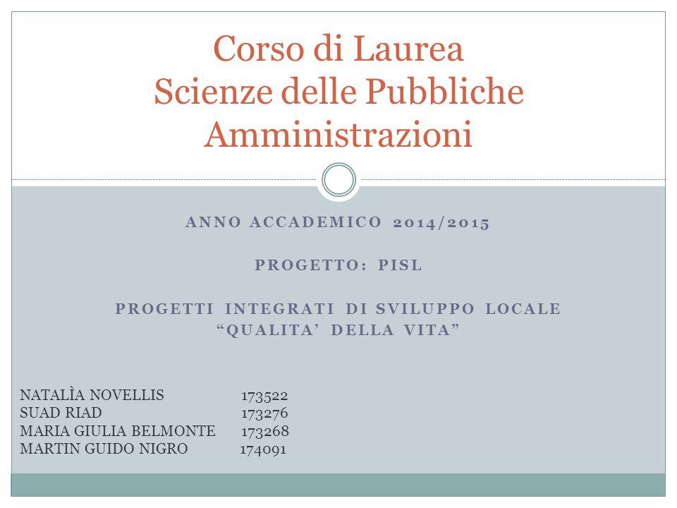 Corso di Laurea Scienze delle Pubbliche Amministrazioni