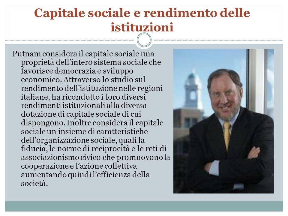 Capitale sociale e rendimento delle istituzioni