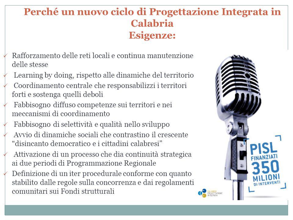 Perché un nuovo ciclo di Progettazione Integrata in Calabria Esigenze: